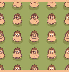 seamless pattern with monkey faces vector image vector image