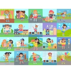Little girl leisure and hobby concepts set vector