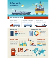 Oil Production And Transportation Infographics vector image vector image