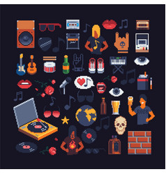 set of music theme accessories pixel art sprites vector image