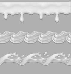whipped cream or milk seamless pattern vector image vector image