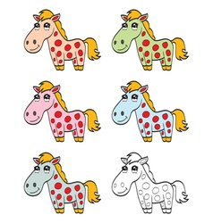 Cute cartoon horse vector image vector image