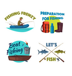 fishing from a boat cartoon icon set design vector image