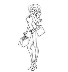 Sexy elegant woman with bags after shopping vector image vector image