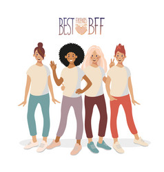 a group four young girls are standing hugging vector image