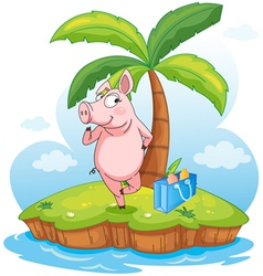 A pig in an island vector image