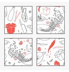 Abstract hand drawn wok restaurant elements poster vector image