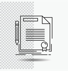Agreement contract deal document paper line icon vector