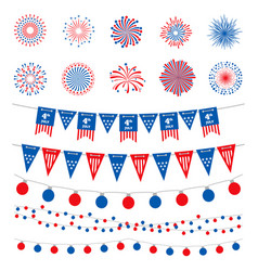 american flag color banners garlands and vector image