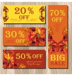 Big sale printable card template with peacock vector