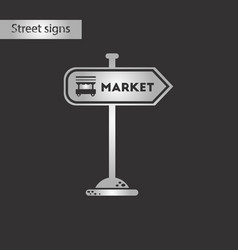 Black and white style icon sign of market vector