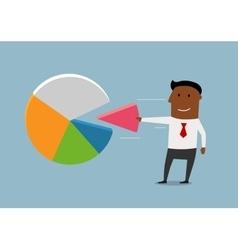Black businessman take a market pie vector