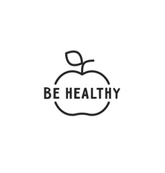 black thin line be healthy logo vector image