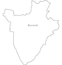 Black White Burundi Outline Map vector image