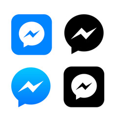 Blue chat app icon with message bubble logo vector