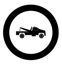 Breakdown truck black icon in circle vector