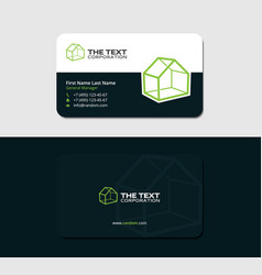 Business card with green lodge vector