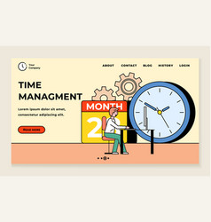 business time management landing web page template vector image