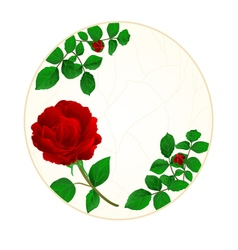 Button circle cracks in porcelain and rose vector