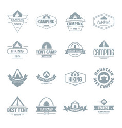 camping tent logo icons set simple style vector image