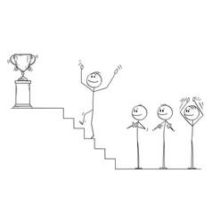 Cartoon businessman climbing up stairs vector