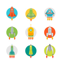 Cartoon space ship or rocket color icons set vector