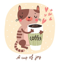 Cat and coffee vector