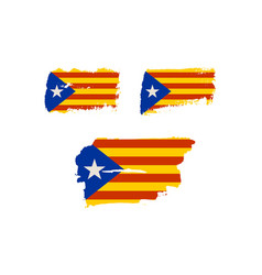 catalonia grunge textured flag vector image