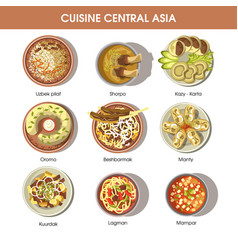 central asia food cuisine icons for vector image
