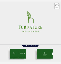 chair nature logo design with green color icon vector image