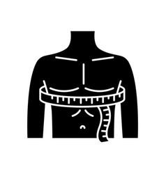 Chest circumference black glyph icon male upper vector