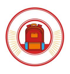 Circular frame with school briefcase vector