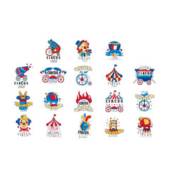 circus logo design set colorful emblems vector image