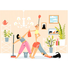 Cleaning house fitness and yoga motivation young vector