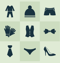 clothes icons set with knickers necktie glove vector image