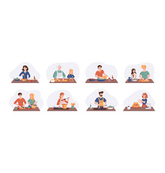 collection cartoon smiling people cooking vector image