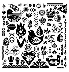 Collection of black ethnic elements the nordic vector
