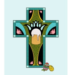 Colorfull easter stained glass vector