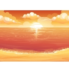 Crimson sun sunrise or sunset on the sea vector image