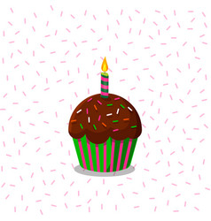cup cake wirh burning candle on vector image