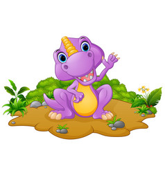 cute dinosaur cartoon waving vector image