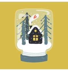 Decorative of handdrawn snow globe vector image