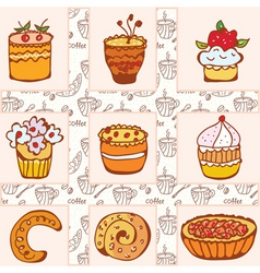 doodle cakes vector image