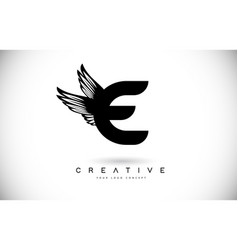 e letter logo with wings creative wing letter e vector image
