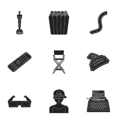 Films and cinema set icons in black style Big vector