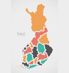 Finland map with states and modern round shapes vector