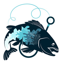 Fish and hook design vector