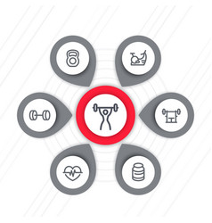 fitness line icons set fit and active lifestyle vector image