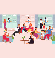 Food court mall cafe interior eat people crowd vector