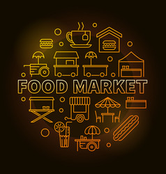 food market circular yellow symbol vector image